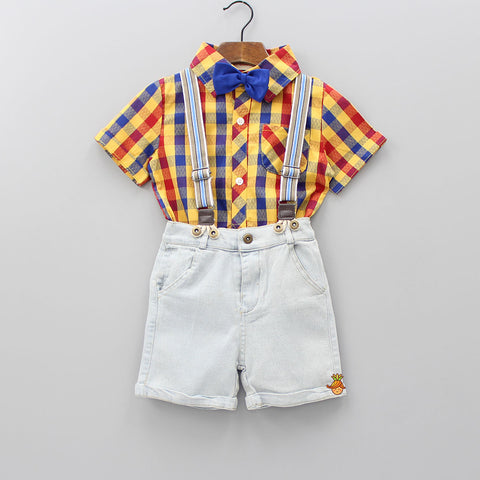 Checkered Style Shirt With Suspender