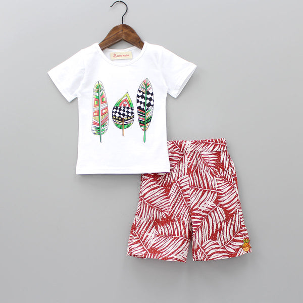 White And Red Leafy Print Set