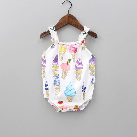 Multicolored Ice-cream Print Bodysuit