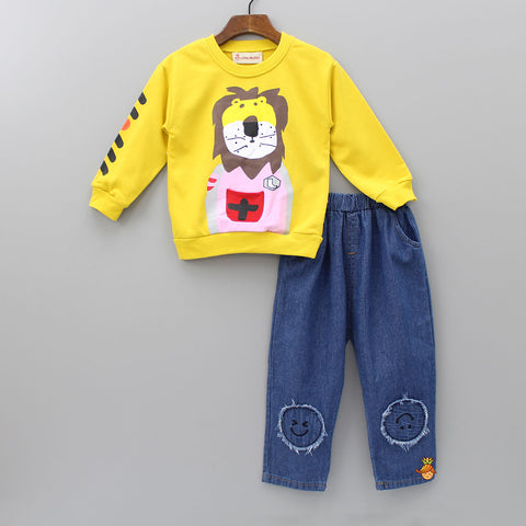 Mustard Yellow Lion Print Set