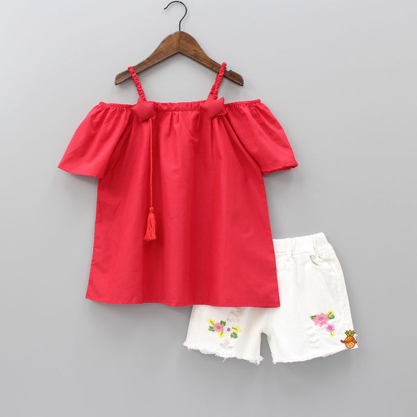 Red Starry Top With Shorts Set