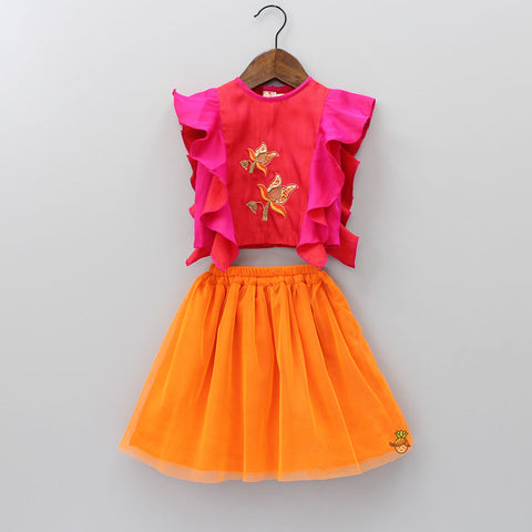 Pre Order: Floral Embroidered Top And Orange Skirt