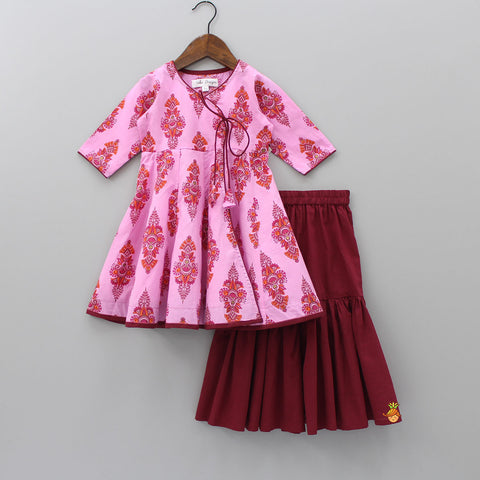 Pre Order: Pink Printed Kurta With Maroon Sharara Set