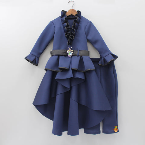 Pre Order: Navy Blue Up and Down Coat With Pant