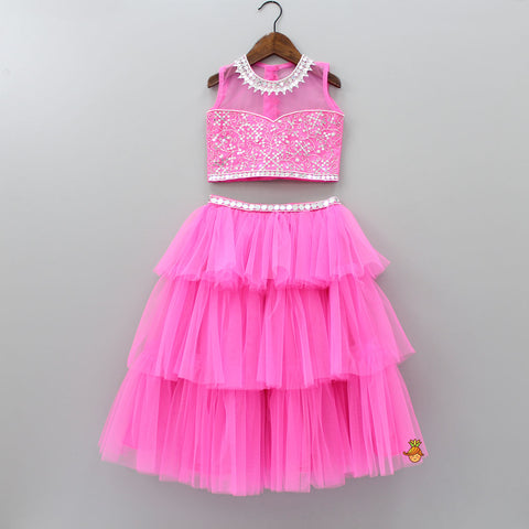 Pre Order: Pink Frilly Skirt With Embroidered Top