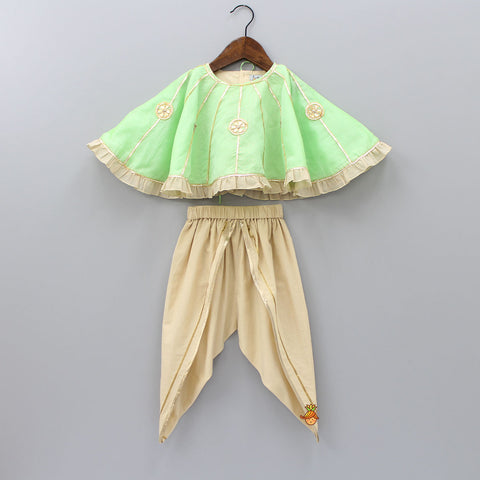 Pre Order: Organic Cotton Crop Top And Dhoti With Green Cape