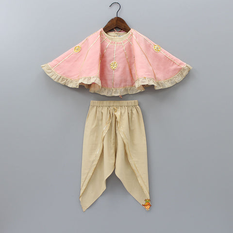 Pre Order: Organic Cotton Crop Top And Dhoti With Peach Cape