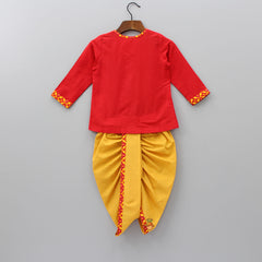 Pre Order: Lion Cub Embroidered Kurta With Dhoti