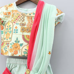Pre Order: Green Top With Drape Dupatta And Sharara
