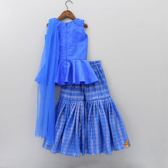 Pre Order: Blue Peplum With Attached Dupatta And Sharara