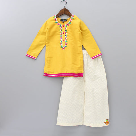 Pre Order: Orche Yellow Kurta With Palazzo Set