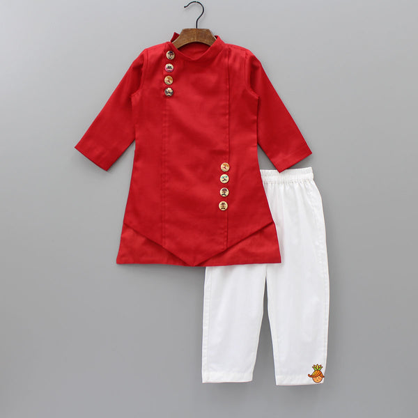 Pre Order: Red Asymmetric Kurta With Pyjama