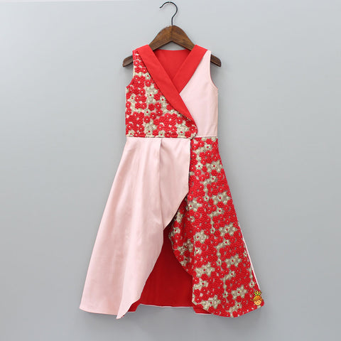Pre Order: Red And Pink Floral Embroidered Gown
