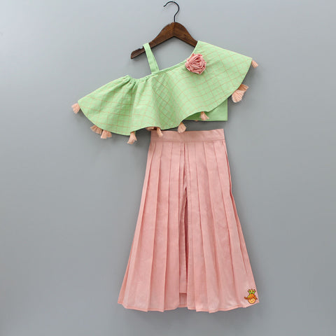 Pre Order: Green Off- Shoulder Top With Peach Palazzo Skirt