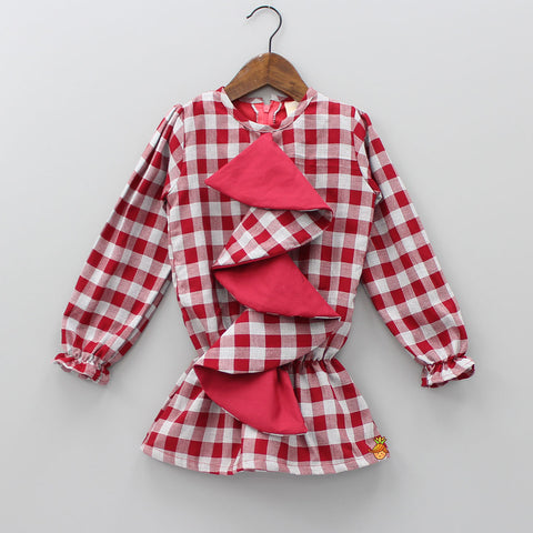 Red Zig-zag Frilly Checks Print Dress