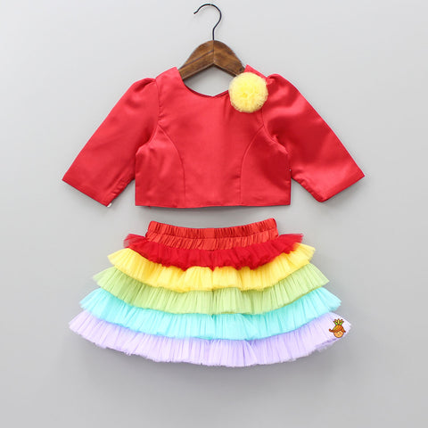 Pre Order: Red Top With Multicolored Skirt