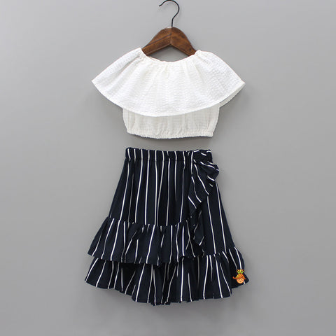 Pre Order: White Top With Frilly Skirt Set