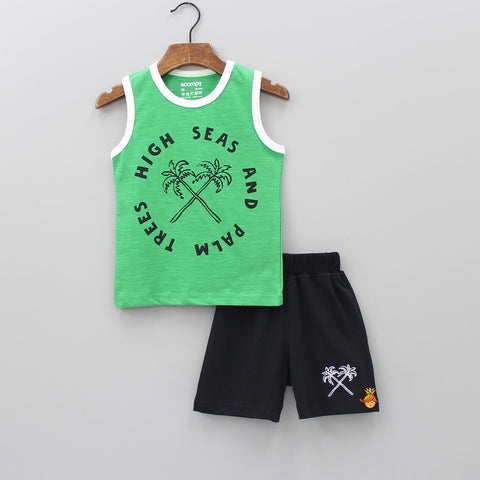 Green Printed Vest With Black Shorts