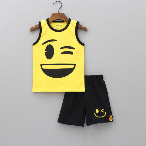 Yellow Winking Eye Vest With Shorts