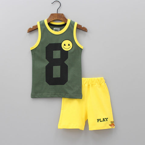 Green Printed Vest And Yellow Shorts