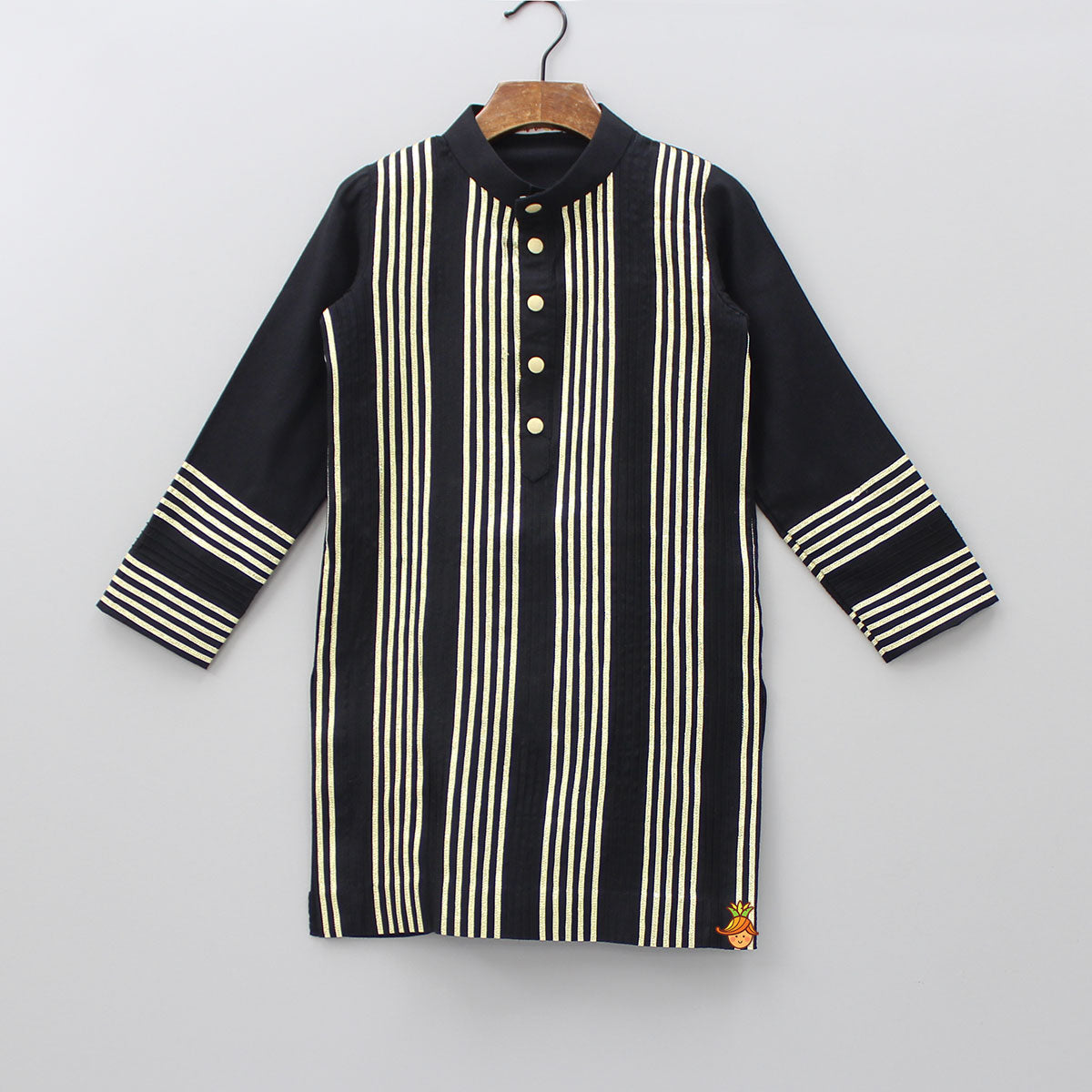 Pre Order: Gota Striped Black Kurta