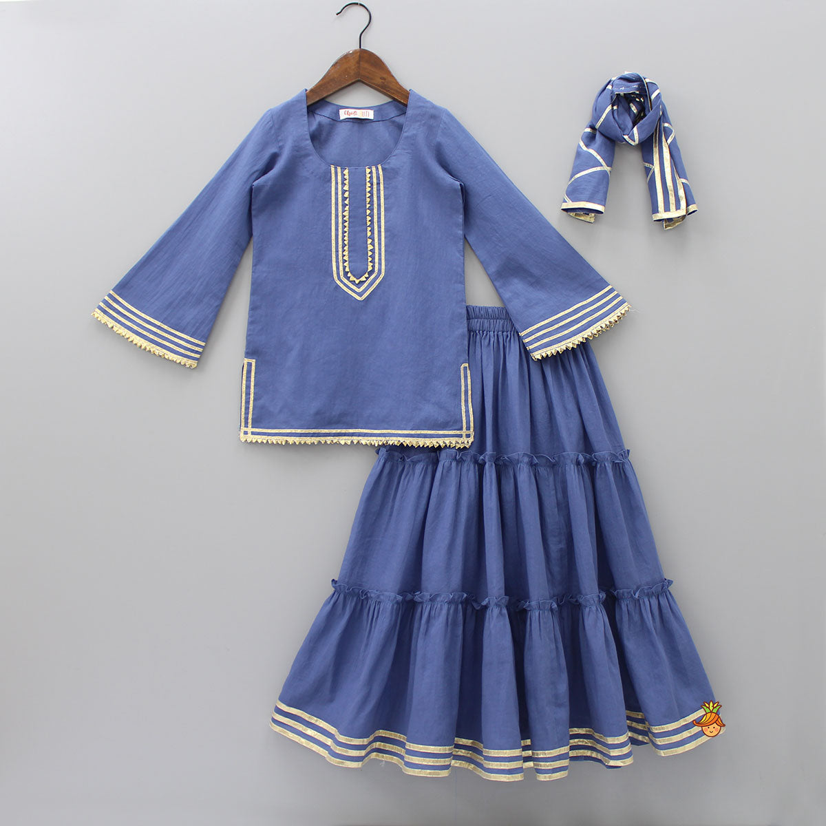 Pre Order: Blue Kurta And Tier Skirt With Dupatta