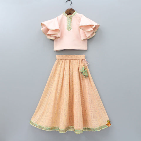 Pre Order: Peach Top And Chikankari Lehenga