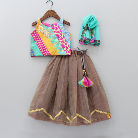 Pre Order: Multi-colored Printed Top With Lehenga And Dupatta