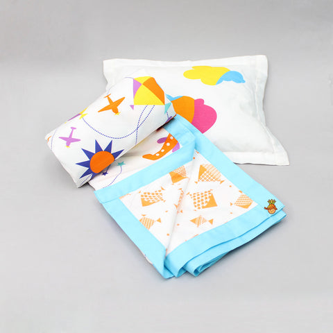 Aeroplane Blue Blanket And Pillow Set For 0 to 5 Years