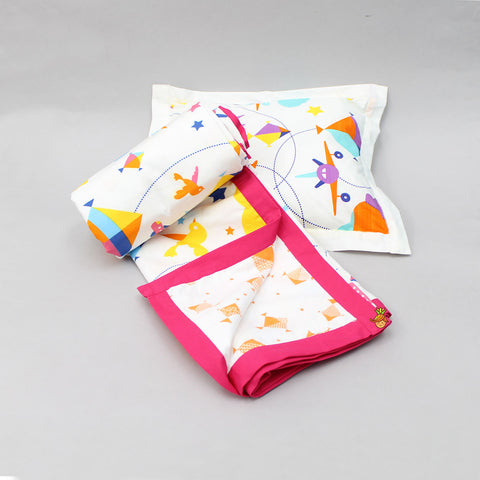 Aeroplane Pink Blanket And Pillow Set For 0 to 5 Years