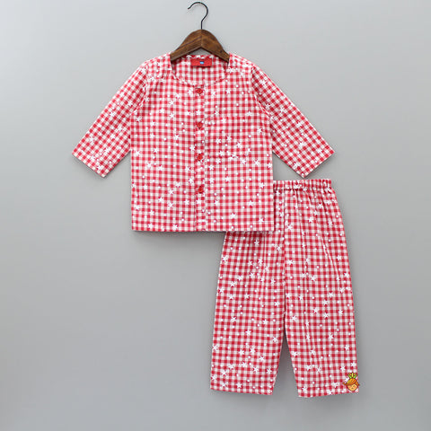 Pre Order: Red And White Star Print Sleepwear