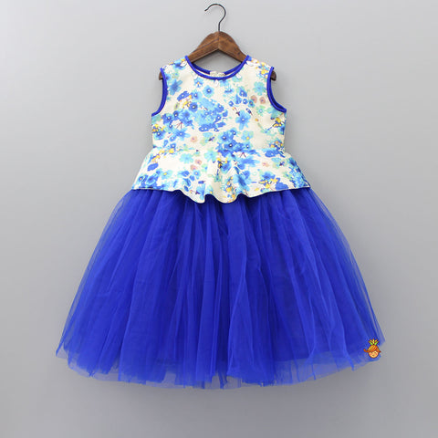Pre Order: White And Blue Floral Print Dress