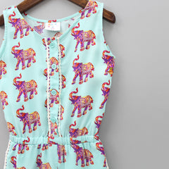 Elephant Print Short Jumpsuit
