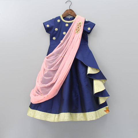 Pre Order: Navy Blue Gown With Draped Dupatta