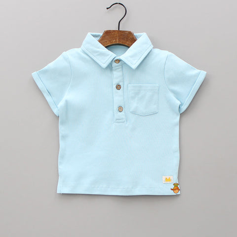 5a772f62f Light Blue Organic Cotton Short Sleeves Polo