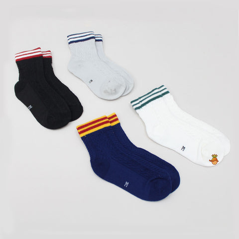 Stripy Self Design Socks - Set Of 4