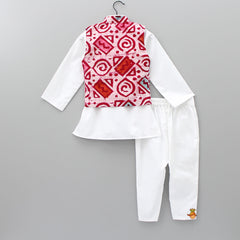 Pre Order: White Kurta And Pant With Printed Jacket