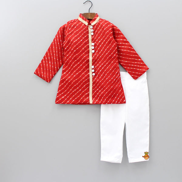 Red Kurta With White Pant