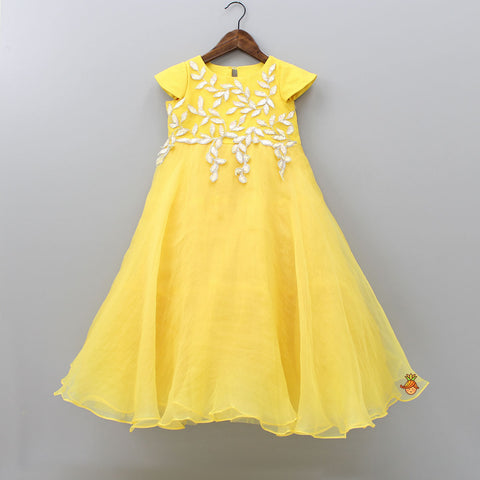 Pre Order: Yellow Floating Leaves Gown