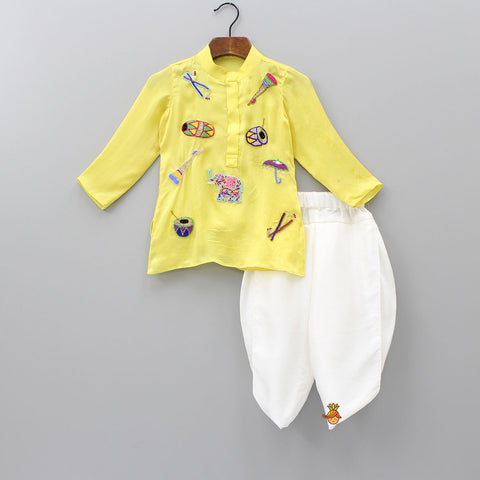 a82ec21c255 Pre Order  Yellow Musical Instruments Embroidered Kurta And White Dhoti