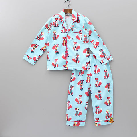 Blue Fox Print Sleepwear