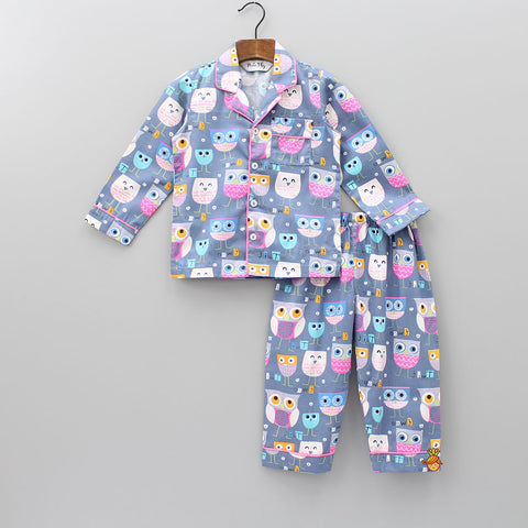 Grey Owl Print Sleepwear