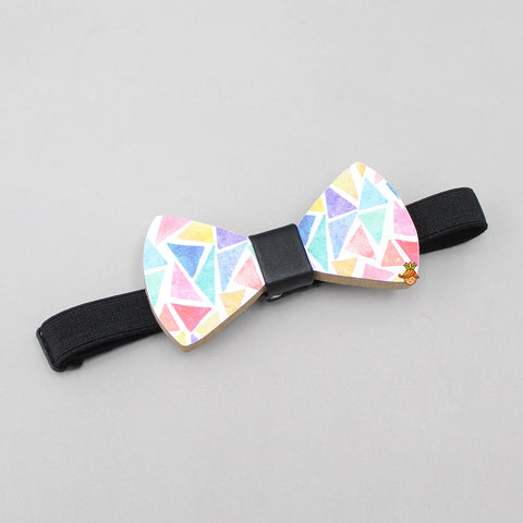 Multicolored Triangles Print Wooden Bow