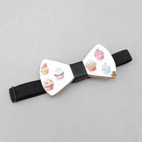 Cup Cake Print Wooden Bow
