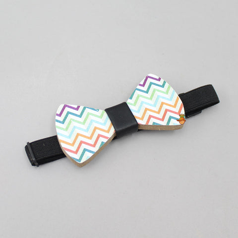 Multicolored Zig Zag Print Wooden Bow