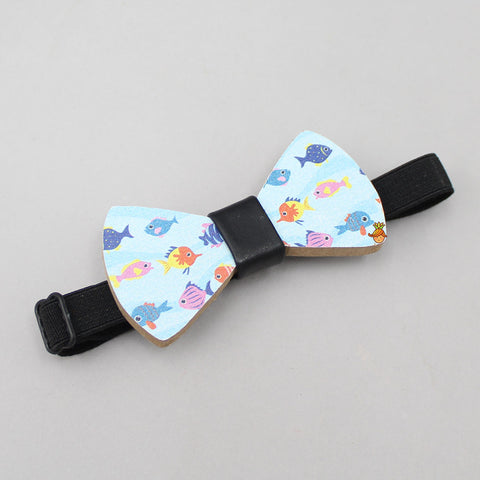 Fish Print Wooden Bow