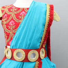 Pre Order: Red Embroidered Choli And Blue Drape With Maroon Dhoti