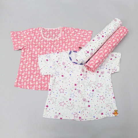 Bunny And Star Print Jhabla And Swaddle Set