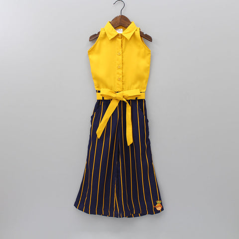 547f688dc5 Mustard Striped Blue Formal Jumpsuit