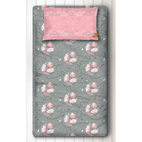 Sheep Print Bedsheet With Pillow Cover For Single Bed